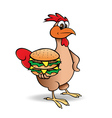 chicken with hamburger vector image vector image