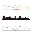 Acapulco skyline linear style with rainbow vector image