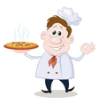 Cartoon cook chef with a hot pizza vector image