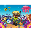 Diver and fish under the sea vector image