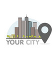 eco green modern city thin line with pointer logo vector image