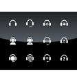 Headphones icons on black background vector image