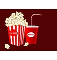 Popcorn in striped paper box soda drink takeaway vector image