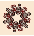 Tribal style mandala in red and brown color vector image