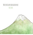watercolor hand drawn green mountain isolated vector image