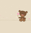 Love bear with pink flower vector image vector image