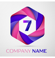 Seven number colorful logo in the hexagonal on vector image