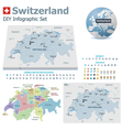 Switzerland maps with markers vector image vector image