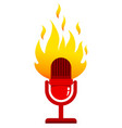 Red microphone with fire vector image