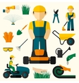 Man With Lawn Mower vector image