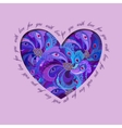 Violet painted peacock feathers heart design Love vector image