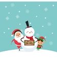 Santa elf and snowman icon Merry Christmas vector image
