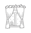 a Christmas window view vector image