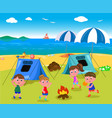 camping at the seaside vector image