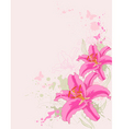 floral background with pink lily vector image