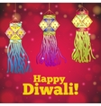 Greeting card for Diwali with colorful lanterns vector image