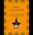 halloween square frame for text with spider web vector image