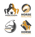 horse racing club and riding school emblems set vector image