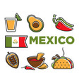 mexico flad and traditional cuisine isolated vector image
