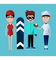people sport swimming skiing baseball with uniform vector image