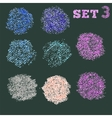 Set 5 of dry pastel dot circles pattern vector image