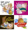 set of easter egg hunt funny bunny with basket vector image