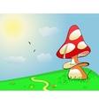 Summer landscape Mushroom on green field vector image