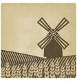 windmill in wheat field vector image