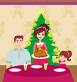 Woman serving his family a turkey vector image