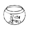Fish bowl cartoon hand drawn vector image
