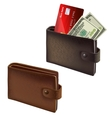 Black and brown leather wallets vector image