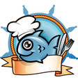 fish restaurant emblem vector image vector image