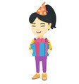 asian girl in birthday cap holding gift box vector image