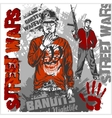 Bandits with guns and design elements - set vector image