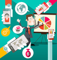 Businessman with Graph and Cell Phones in Hands vector image