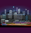 city traffic and night illumination modern city vector image