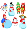 set of characters for winter design vector image vector image