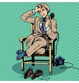 Tired man sits chair talking phone vector image