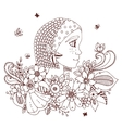 Zen Tangle portrait of a woman vector image vector image