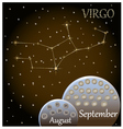 Calendar of the zodiac sign Virgo vector image