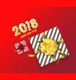 color gift box bows and ribbons happy new year vector image