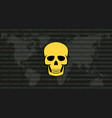 global attack ransomware skull with binary code vector image