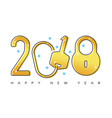happy 2018 new year flat thin line gold greeting vector image