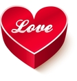 Red 3D heart with sign Love vector image