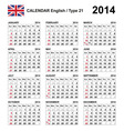 Calendar 2014 English Type 21 vector image vector image