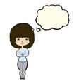 cartoon shy woman with thought bubble vector image