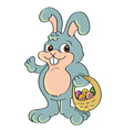 easter bunny and basket vector image vector image