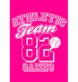 Female athletic team basebal design on pink vector image