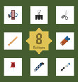 flat icon stationery set of paper clip pencil vector image