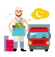 food delivery flat style colorful cartoon vector image
